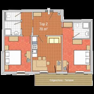 Innenbereich 3-Zimmer-Wohnung 70 m2. Komfortabel und gemütlich eingerichtet: Eingang. Wohn-/Esszimmer mit 1 Doppeldiwanbett, Essecke und Kabel-TV. Ausgang zum Balkon. 1 Doppelzimmer mit Dusche/WC. 1 Doppelzimmer. Offene Küche (4 Kochplatten, Backofen, Geschirrspüler, Mikrowelle, elektrische Kaffeemaschine). Dusche, sep. WC. Balkon. Terrassenmöbel. Sehr schöne Sicht auf die Berge und die Landschaft. Zur Verfügung: Internet (Wireless LAN, gratis).